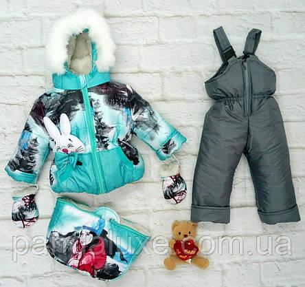 Детский зимний комплект тройка комбинезон для девочки до 2-х лет, фото 2