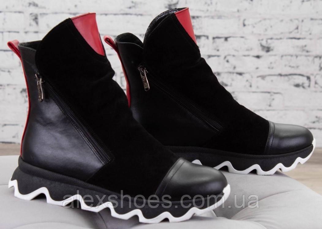 Ботинки молодежные на толстой подошве из натуральной кожи и замши от производителя модель БС1455-1