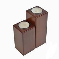 Подсвечник дерево скандинавский стиль на две свечи - прямоугольники