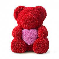 Мишка из роз Красный с розовым сердцем UTM 40 см Очень качественный / Мишка из цветов / Подарок девушке с цветов
