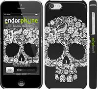 "Чехол на iPhone 5c Череп с цветами ""2864c-23"""