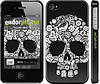 "Чехол на iPhone 4s Череп с цветами ""2864c-12"""