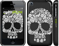 "Чехол на iPhone 3Gs Череп с цветами ""2864c-34"""