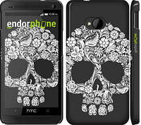 "Чехол на HTC One M7 Череп с цветами ""2864c-36"""