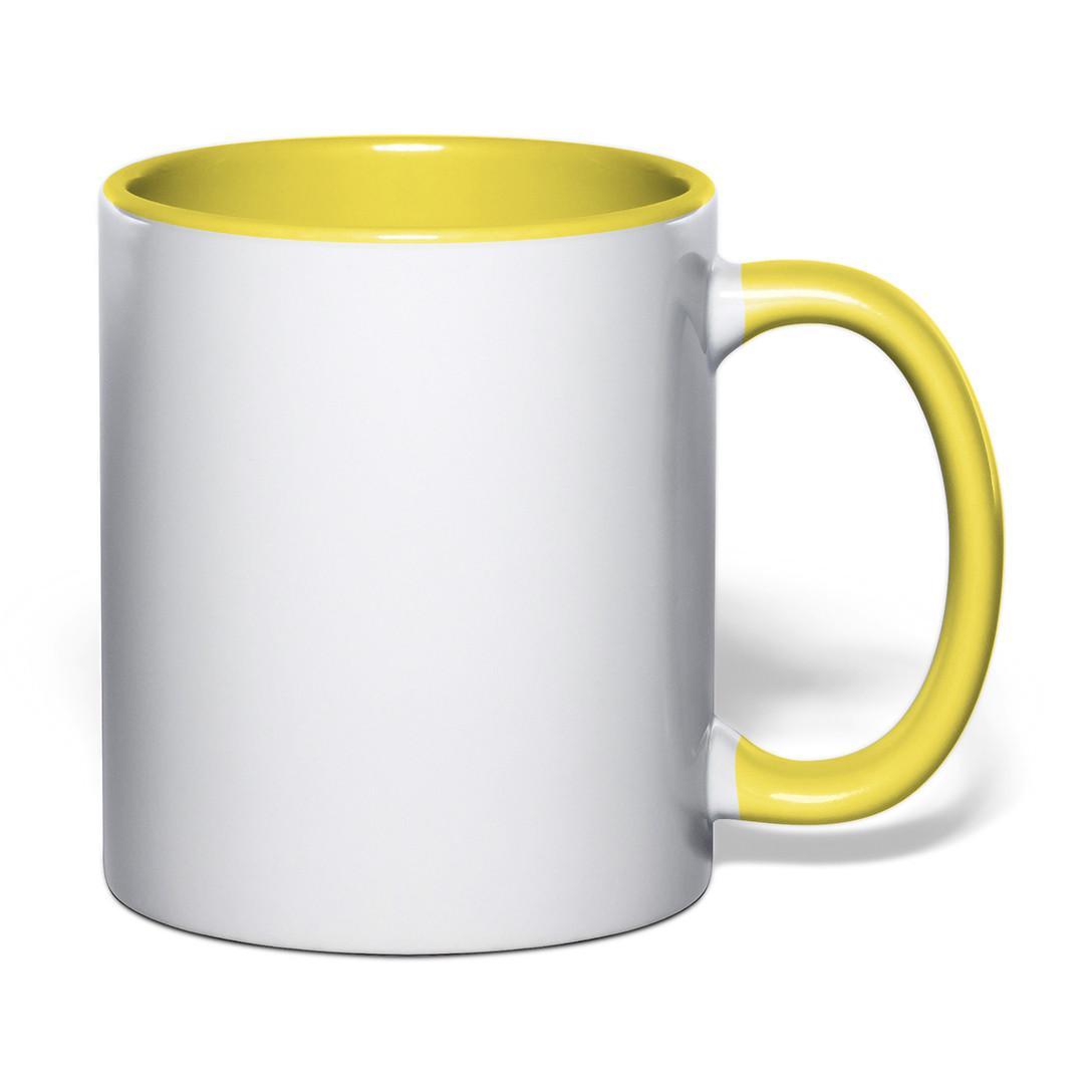 Чашка  для сублимации цветная внутри и ручка 330 мл (желтый)