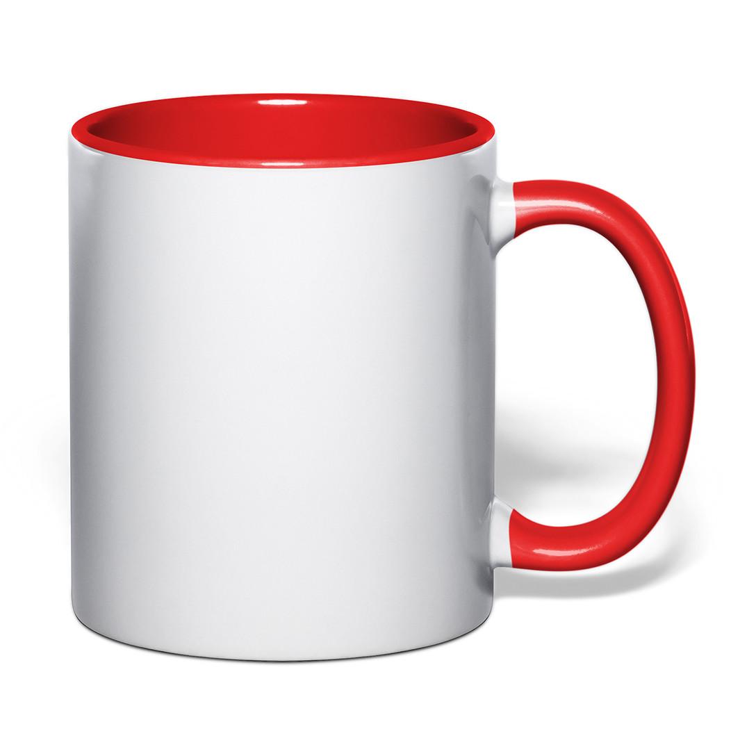 Чашка для сублимации цветная внутри и ручка 330 мл (красный)