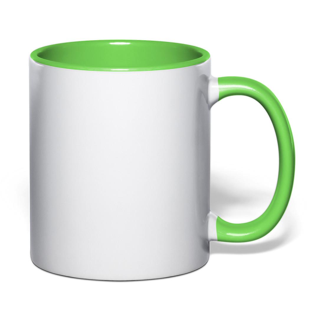 Чашка для сублимации цветная внутри и ручка 330 мл (салатовый)