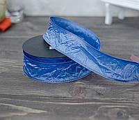 Лента декоративная 4 см голубая  ЖАТАЯ \проволочный край двусторонняя