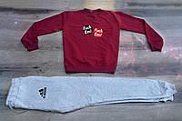 Осенний мужской спортивный костюм, свитшот+штаны, бордовый спортивный костюм Fuck Em!, Реплика