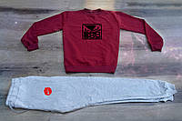 Осенний мужской спортивный костюм, свитшот+штаны, бордовый спортивный костюм Bad Boy X Nike, Реплика