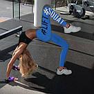 Леггинсы для спорта лосины для фитнеса голубые №8b — (S,XL), фото 3