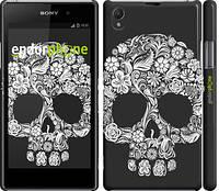 """Чехол на Sony Xperia Z1 C6902 Череп с цветами """"2864c-38"""""""