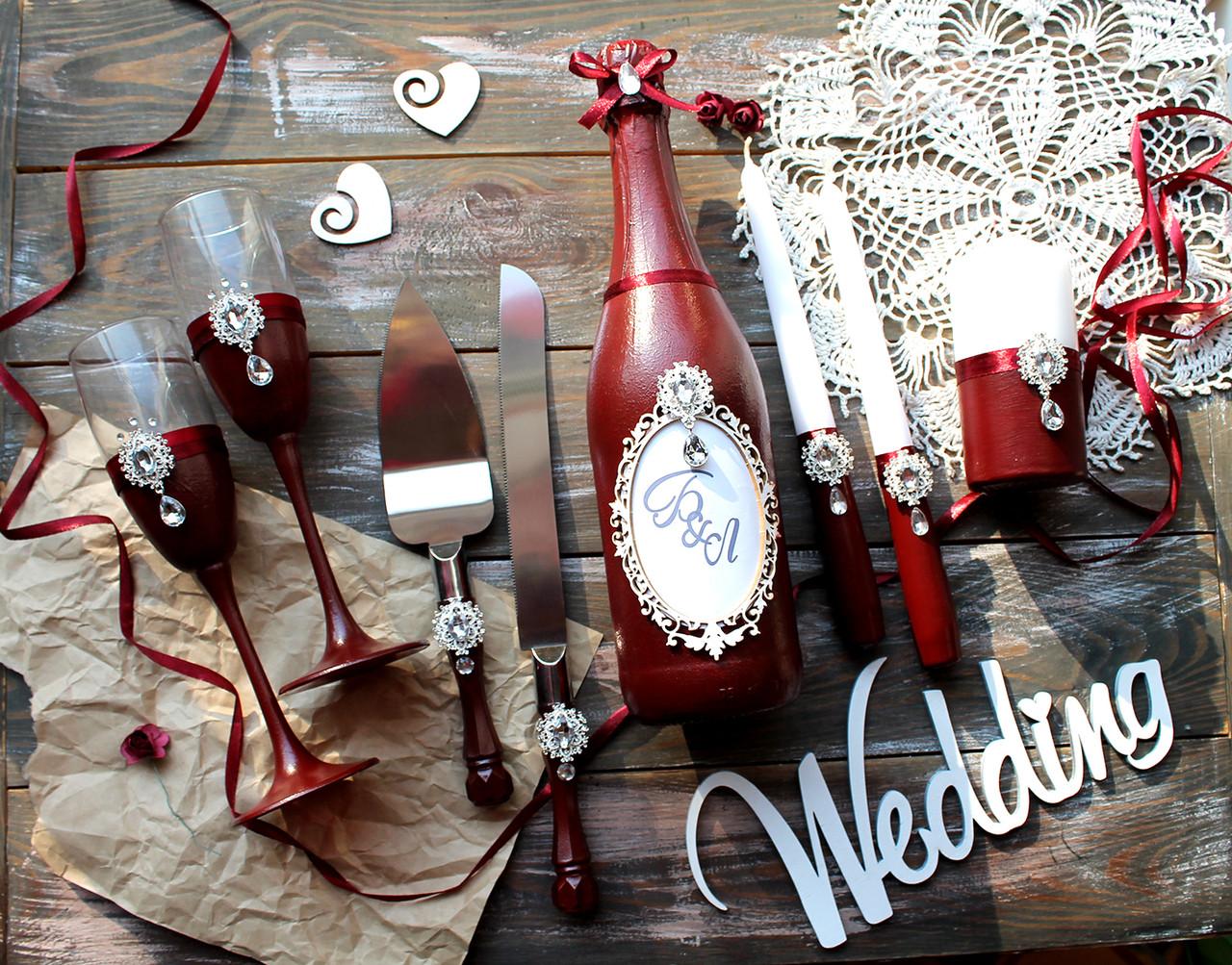 Весільний набір аксесуарів колір бордо (без шампанського)
