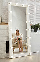 ☀️Зеркало❤️ с подсветкой☀️ Натуральное 🌲Дерево! Зеркало в полный рост с подсветкой напольное белый лак.