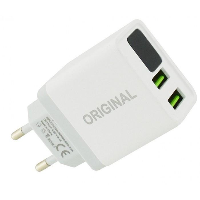 Сетевое зарядное устройство 3.1A 2 USB c экраном QC03 Белый