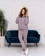 Тёплый женский спортивный костюм тройка на флисе штаны батник жилетка с мехом фрезовый 42 44 46 48 50 52 54, фото 1