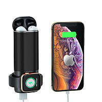 Power Bank 3 в 1 для Iphone, Apple Watch и AirPods Черный / Павербанк / Портативное зарядное устройство