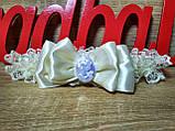 Подвязка для невесты Камелия. Цвет айвори., фото 2