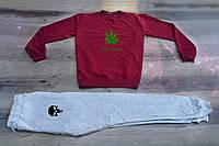 Осенний мужской спортивный костюм, свитшот+штаны, бордовый спортивный костюм Go Green, канабис, марихуана
