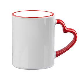 Чашка для сублимации цветной ободок и ручка Love 330 мл (красный)