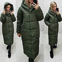 Пальто курка кокон Oversize зимняя, артикул 500, цвет серо-зелёный хаки