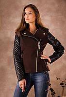 Кашемировая куртка с кожаными рукавами (коричневый), разные цвета
