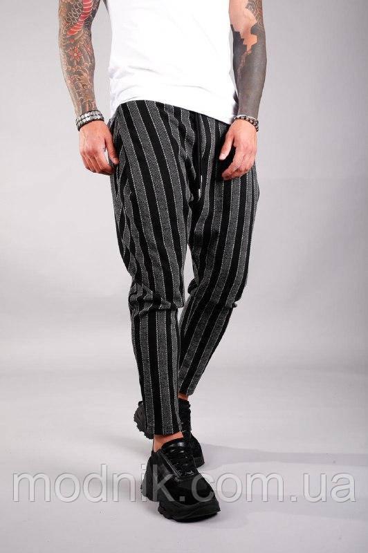 Мужские стильные брюки в полосочку (серо-черные) - Турция