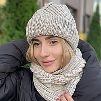 "Женский комплект NORD ""Монтана"" шапка с отворотом и бафф лен"