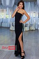 Платье женское длинное с ассиметричным вырезом - Черный