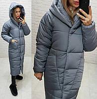 Пальто курка  кокон Oversize зимняя, артикул 500, цвет серый маренго