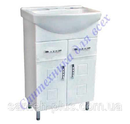 Тумба для ванной комнаты с выдвижными ящиками Кватро Т5 с умывальником Изео-55, фото 2