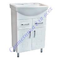 Тумба для ванной комнаты с выдвижными ящиками Кватро Т5 с умывальником Изео-55
