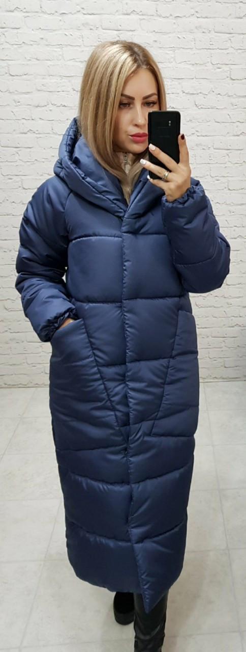 Пальто курка кокон Oversize зимова, артикул 500, колір синій