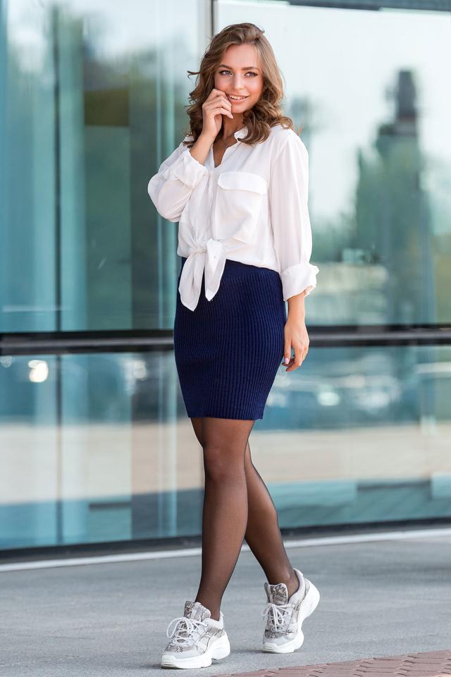 Вязаная юбка «Миледи» мини (синий)