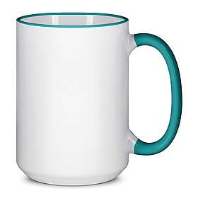 Чашка для сублимации цветной ободок и ручка  425 мл (Зелёный)