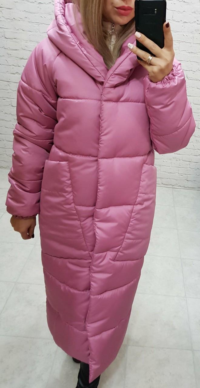 Пальто курка  кокон Oversize зимняя, артикул 500, цвет розовая роза/светлая марсала