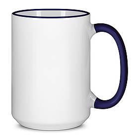 Чашка для сублимации цветной ободок и ручка  425 мл (Кобальт)