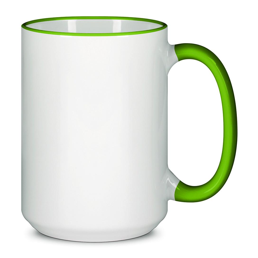 Чашка для сублимации цветной ободок и ручка  425 мл (Салатовый)