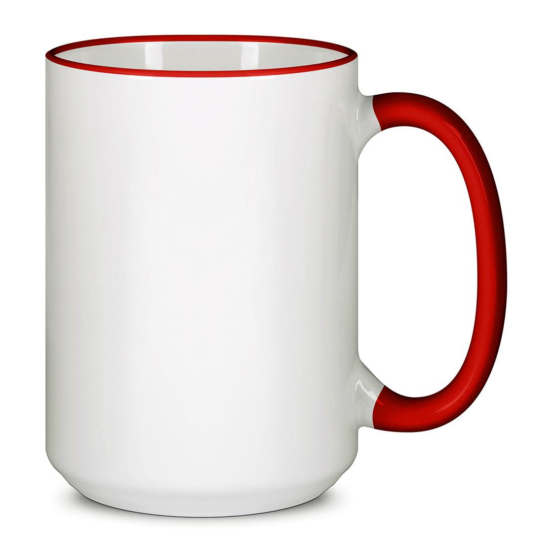 Чашка для сублимации цветной ободок и ручка  425 мл (Красный)