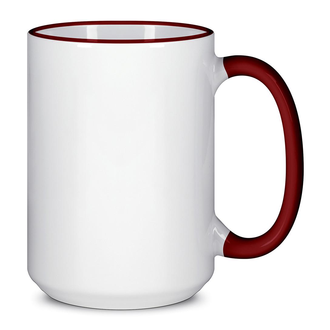 Чашка для сублимации цветной ободок и ручка  425 мл (Бордовый)