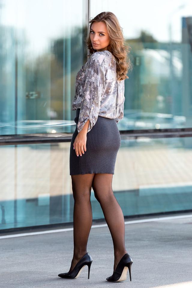 Вязаная юбка «Миледи» мини (графит)