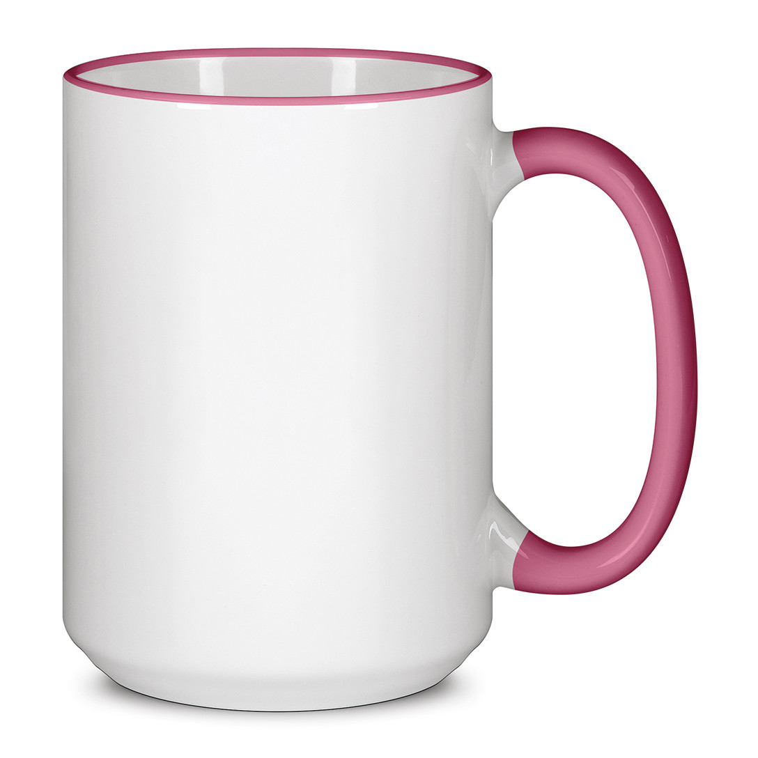 Чашка для сублимации цветной ободок и ручка  425 мл (Розовый)