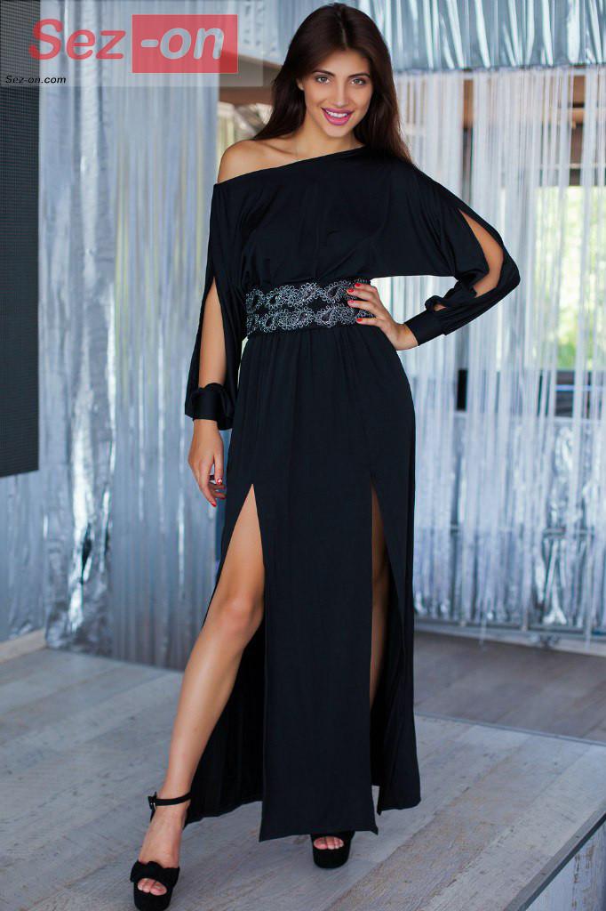 Сукня жіноча вечірня з широким поясом і вирізами