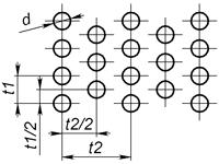 E1 - Круглое отверстие с симметричным смещением  Перфорированный лист с круглыми отверстиями, расположенными с