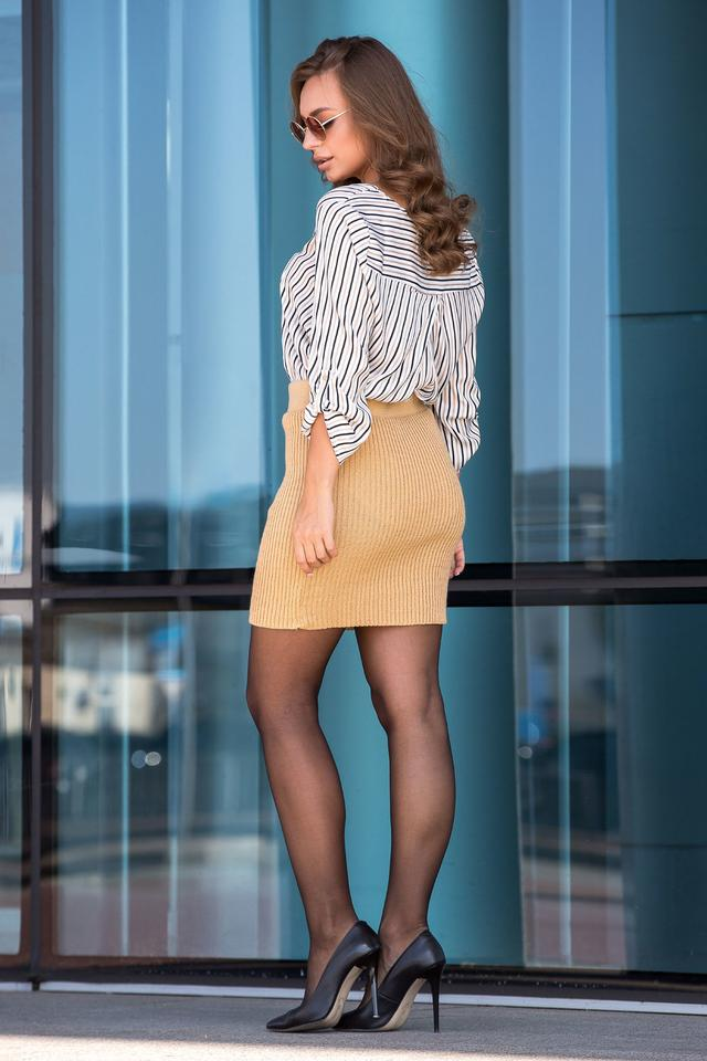 Вязаная юбка «Миледи» мини (светлый янтарь)
