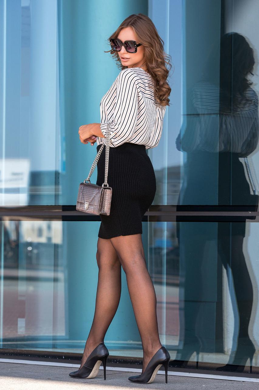 Вязаная юбка «Миледи» мини (черный)