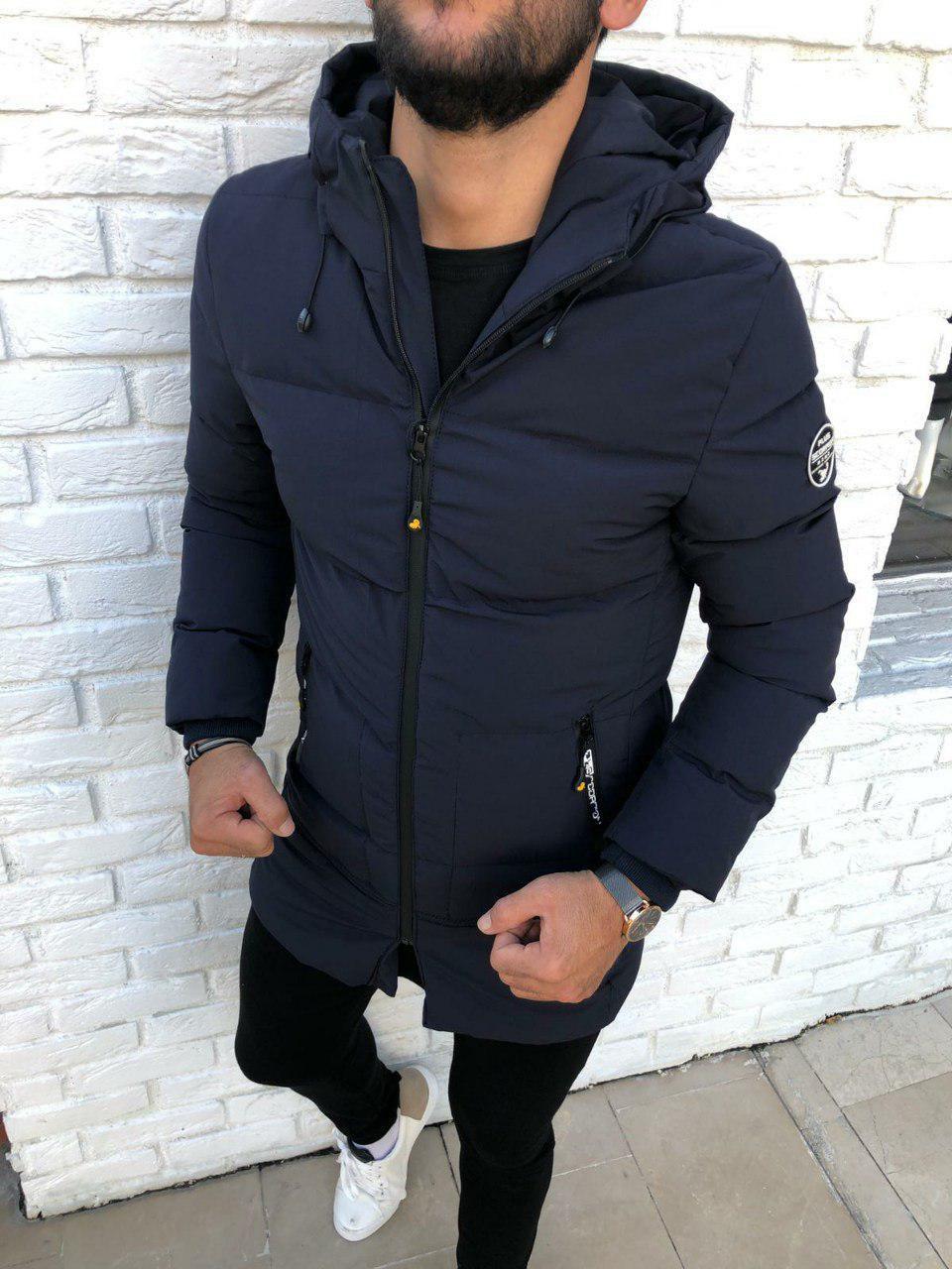 😜 Куртка - Мужскаяя куртка зима синего цвета удлиненная