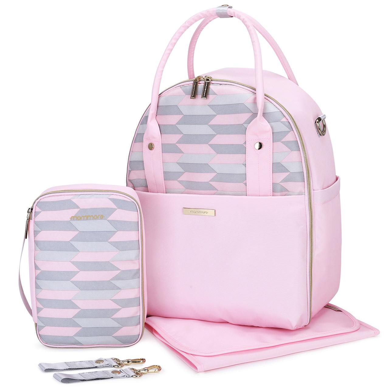 Большая сумка-рюкзак для прогулок и путешествий с младенцем   розовая  Mommore для мам