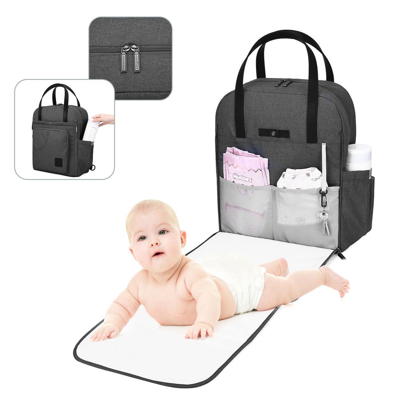 Сумка-рюкзак для мам  многофункиональная серая Mommore