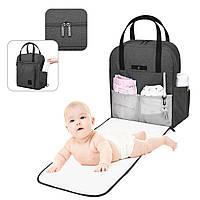 Сумка-рюкзак для мам  многофункиональная серая Mommore, фото 1